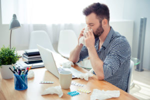 man sick while working