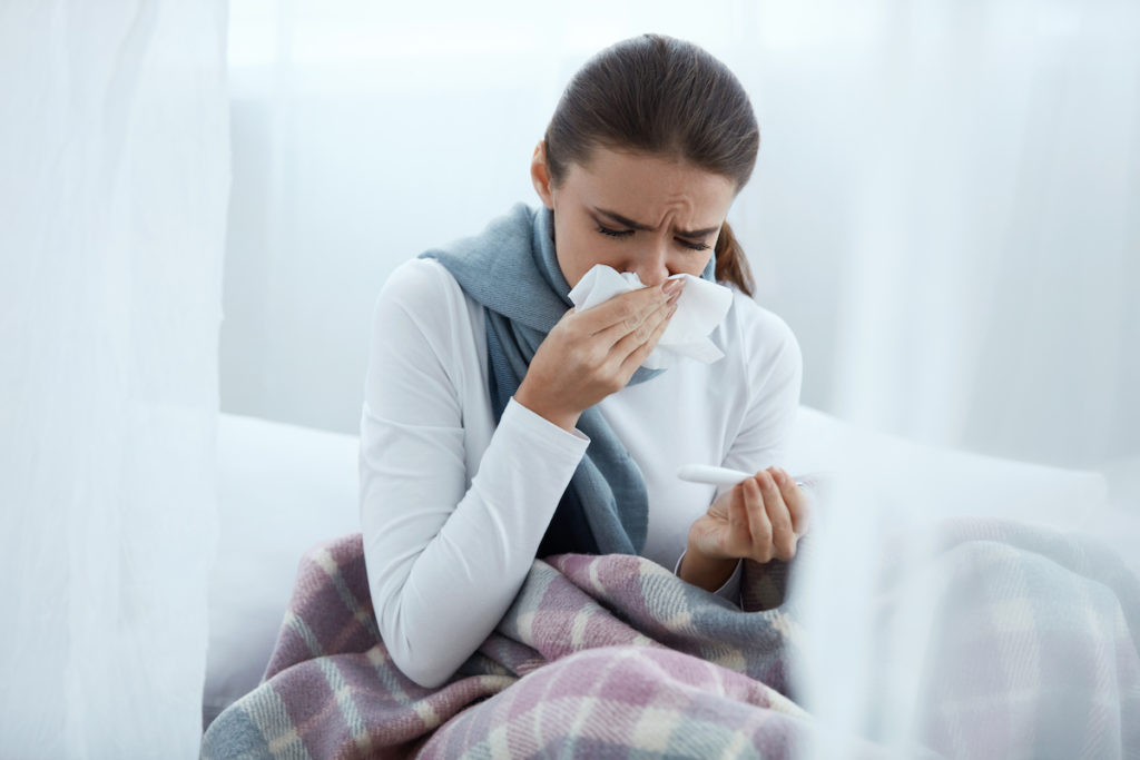 woman having allergies
