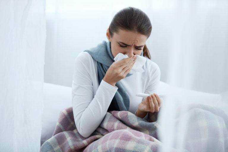woman having allergies